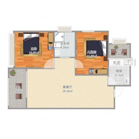 麻城摩尔城2室2厅1卫1厨87.00㎡户型图