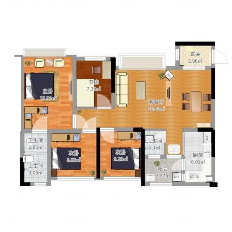 保利锦湖林语4室2厅3卫1厨113.00㎡户型图