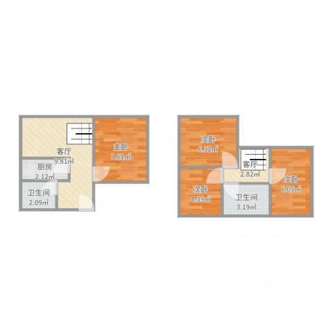 金汇花园一街坊顶楼复式4室2厅2卫1厨55.00㎡户型图