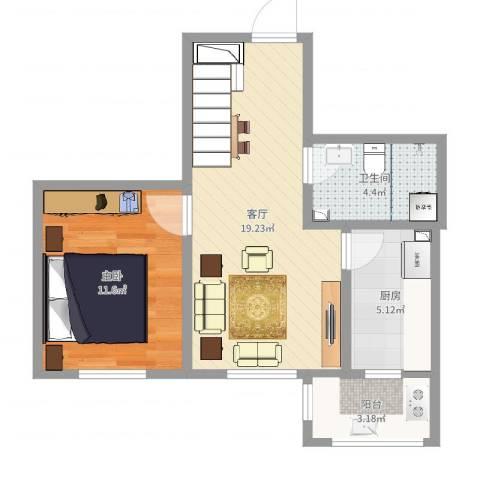 宜清花园16-2-6021室1厅1卫1厨54.00㎡户型图