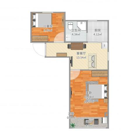 金塔新村3室2厅2卫1厨66.00㎡户型图