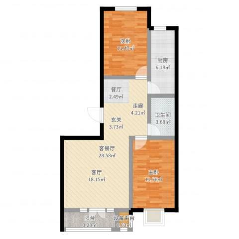 金港花园2室2厅1卫1厨82.00㎡户型图
