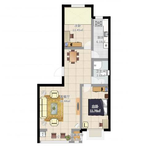 金港花园2室2厅1卫1厨83.00㎡户型图