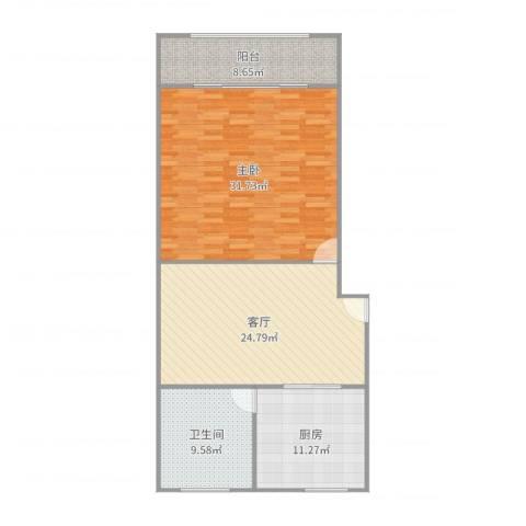 宝南小区1室1厅1卫1厨108.00㎡户型图
