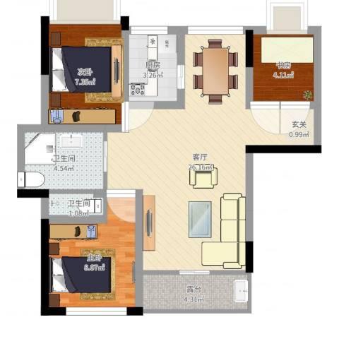 紫荆花园3室1厅2卫1厨68.00㎡户型图