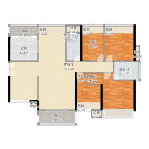 祥利上城4室2厅2卫1厨185.00㎡户型图