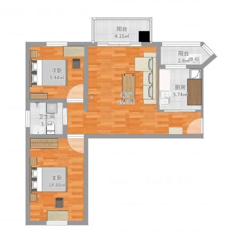 华富家园2室1厅1卫1厨83.00㎡户型图