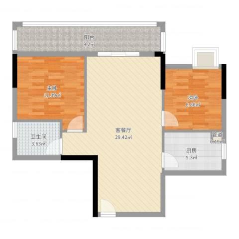 保利城二期2室2厅1卫1厨85.00㎡户型图