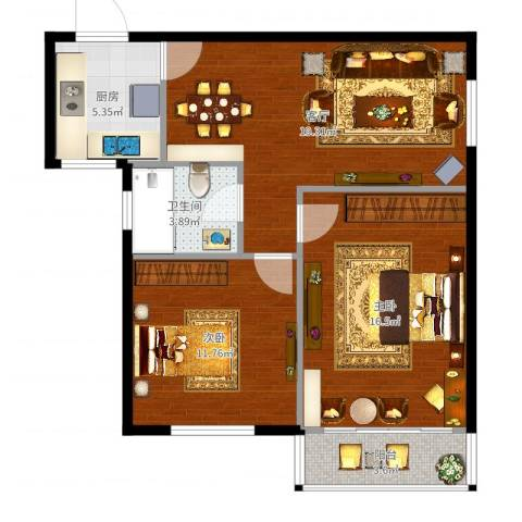 仙霞别墅2室1厅1卫1厨76.00㎡户型图
