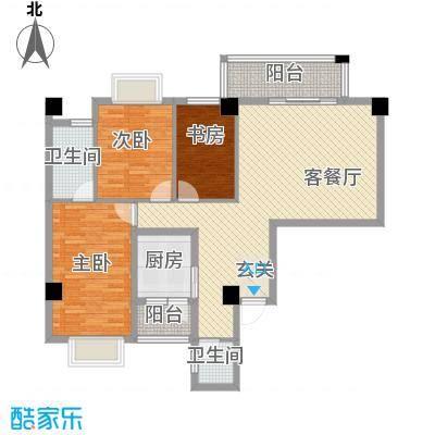 兴业城121.00㎡D户型3室2厅2卫1厨