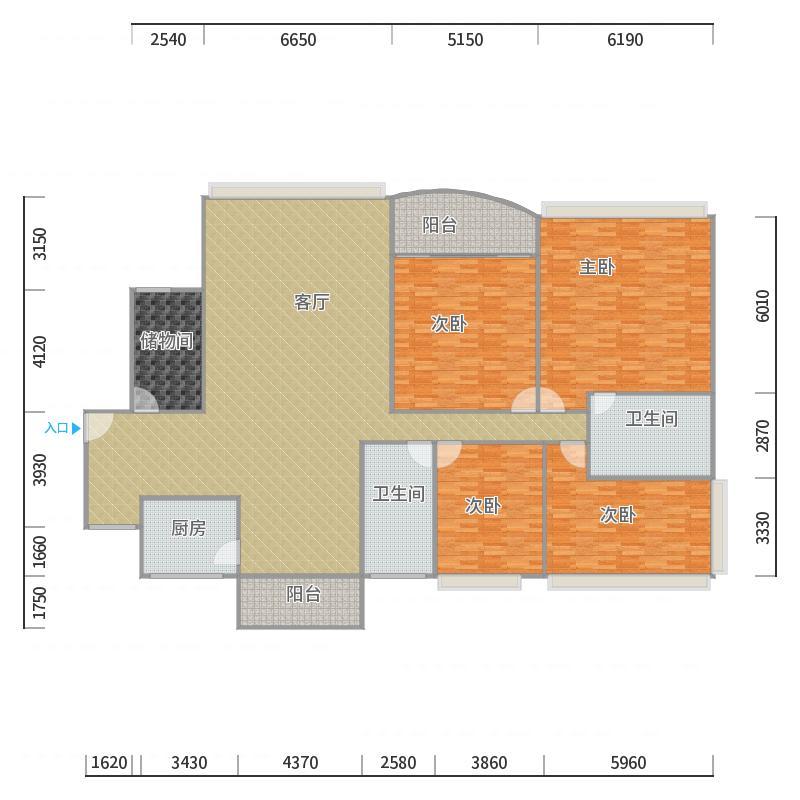 世邦一水岸3-2601四+一杂物房166.59平