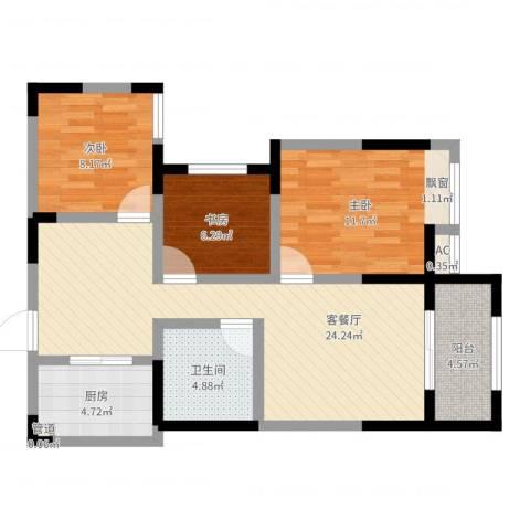 绿都温莎城堡3室2厅1卫1厨81.00㎡户型图