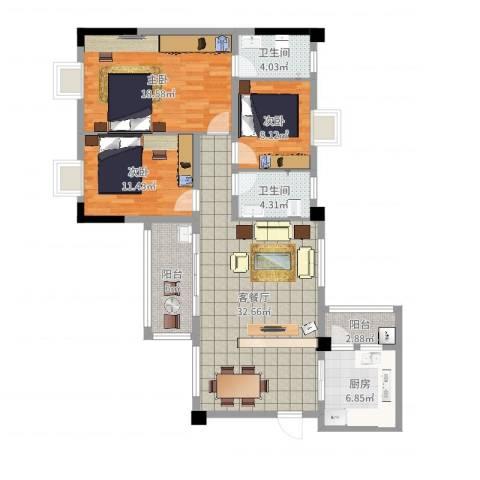富龙翡翠欧庭三期3室2厅2卫1厨119.00㎡户型图