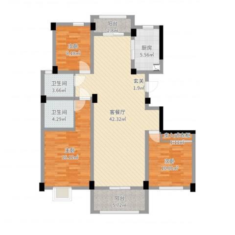 多蓝水岸银沙苑3室2厅2卫1厨126.00㎡户型图