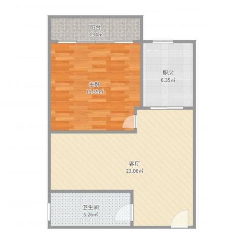 宇翠庭1室1厅1卫1厨63.00㎡户型图