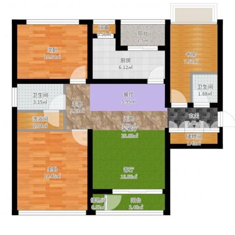 惠灵顿国际社区河庭花苑3室2厅2卫1厨98.00㎡户型图
