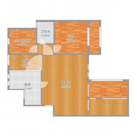 天池湾irene一楼效果图1室2厅1卫1厨147.00㎡户型图