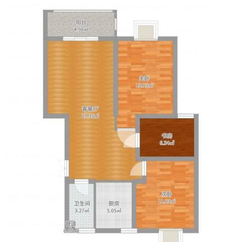 财富广场3室2厅1卫1厨89.00㎡户型图