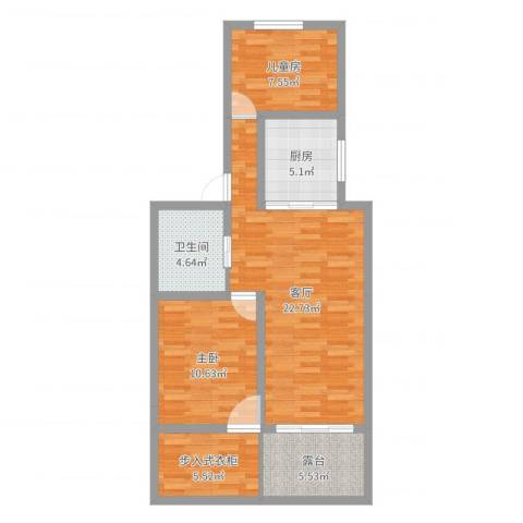 金杨新村2室1厅1卫1厨77.00㎡户型图