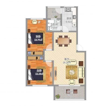 松园里小区2室1厅1卫1厨90.00㎡户型图