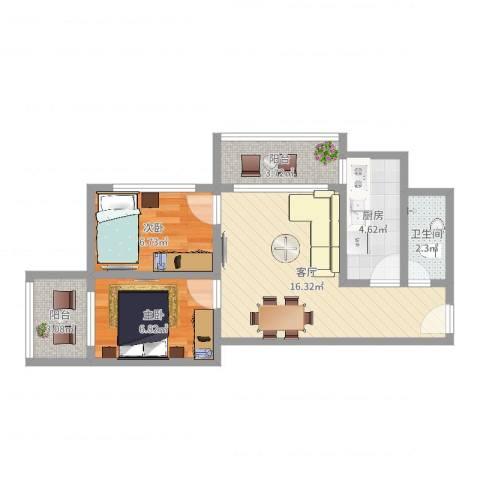 海逸花园2室1厅1卫1厨54.00㎡户型图