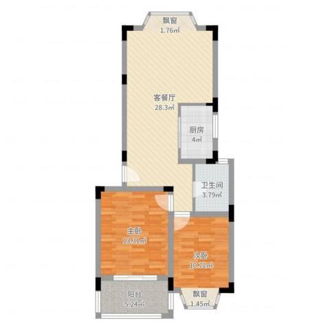 国光山水间2室2厅1卫1厨82.00㎡户型图