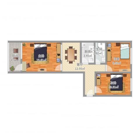 大羊宜宾胡同31号院3室1厅1卫1厨74.00㎡户型图