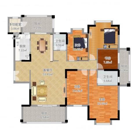 东江学府二期4室2厅2卫1厨219.00㎡户型图