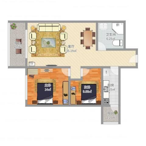 高苑花样年华2室1厅1卫1厨98.00㎡户型图