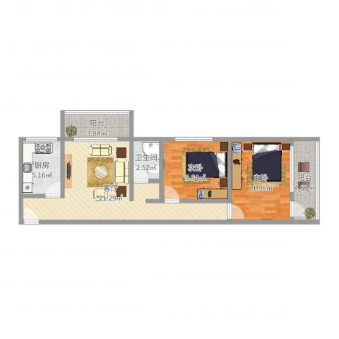 牛街东里一区2室1厅1卫1厨74.00㎡户型图