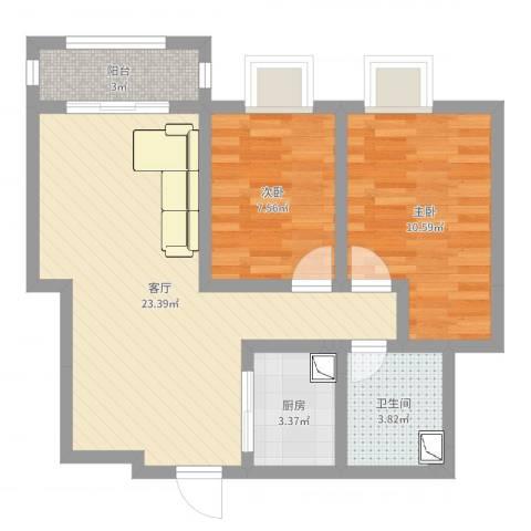 宝华海湾城2室1厅1卫1厨65.00㎡户型图