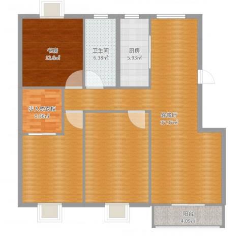 罗马花园二期1室2厅1卫1厨129.00㎡户型图