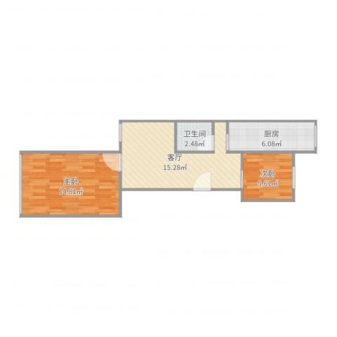 芍药居北里2室1厅1卫1厨55.00㎡户型图