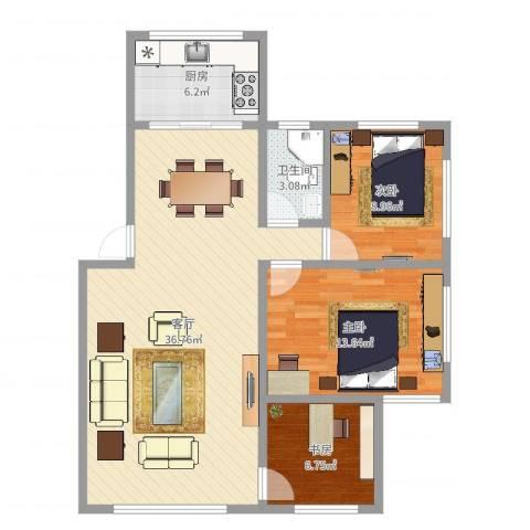 珠殿苑3室1厅1卫1厨94.00㎡户型图