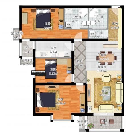 乐城3室2厅6卫1厨136.00㎡户型图