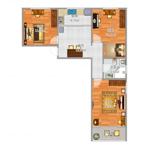 新安小区3室1厅1卫1厨75.00㎡户型图
