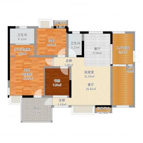 宇界维诗卡3室1厅5卫1厨122.00㎡户型图