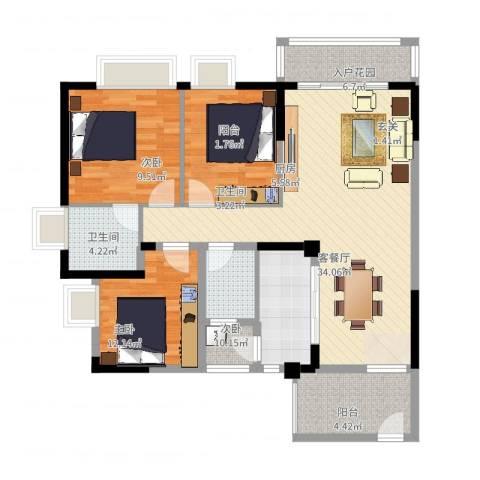 天林湖花园3室2厅2卫1厨115.00㎡户型图