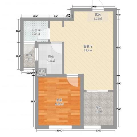 中国水电海赋外滩1室2厅1卫1厨40.44㎡户型图