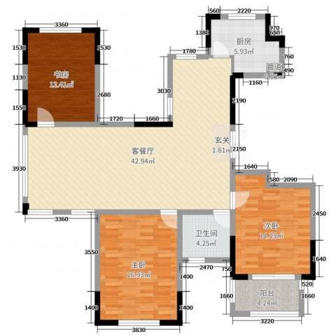 金色城邦3室2厅1卫1厨126.00㎡户型图