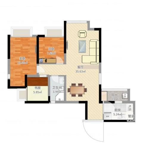中铁城锦南汇3室1厅2卫1厨94.00㎡户型图