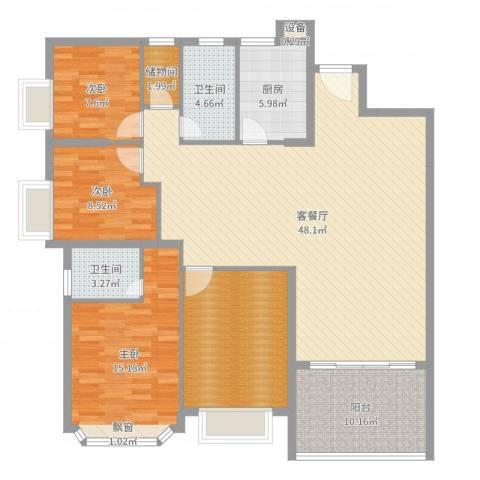 王府花园3室2厅2卫1厨149.00㎡户型图
