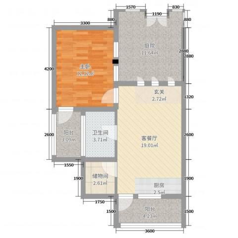 中铁国际旅游度假区1室2厅1卫0厨56.41㎡户型图