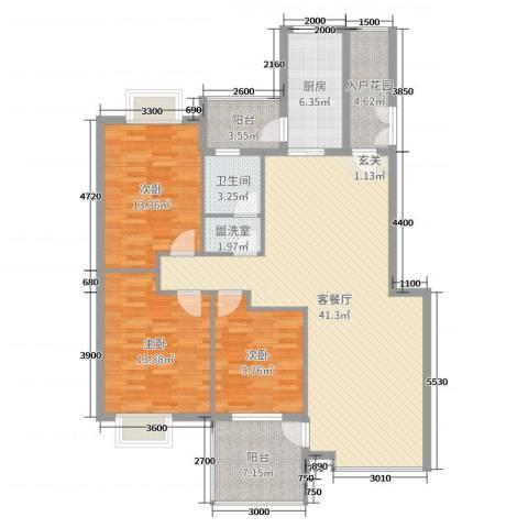 公园华府3室2厅1卫1厨122.00㎡户型图