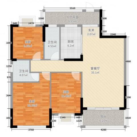 蟠龙御景苑3室2厅2卫1厨119.00㎡户型图