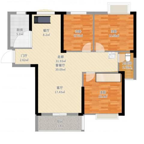 长航蓝晶国际3室2厅1卫1厨106.00㎡户型图