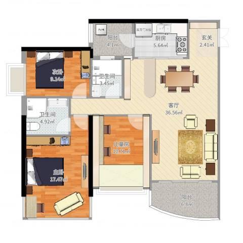 中怡城市花园3室1厅2卫1厨123.00㎡户型图