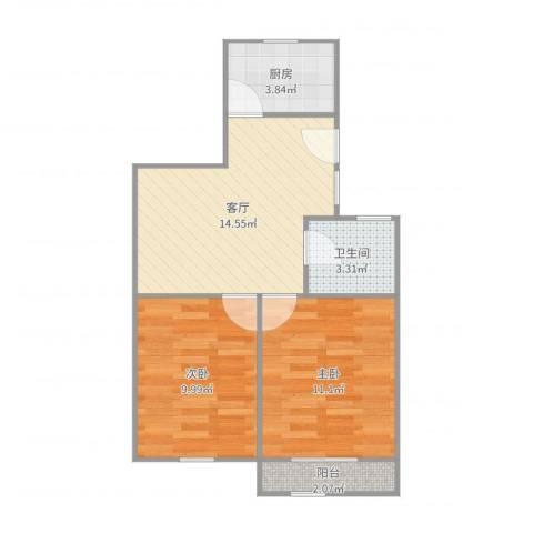 报春一村2室1厅1卫1厨56.00㎡户型图