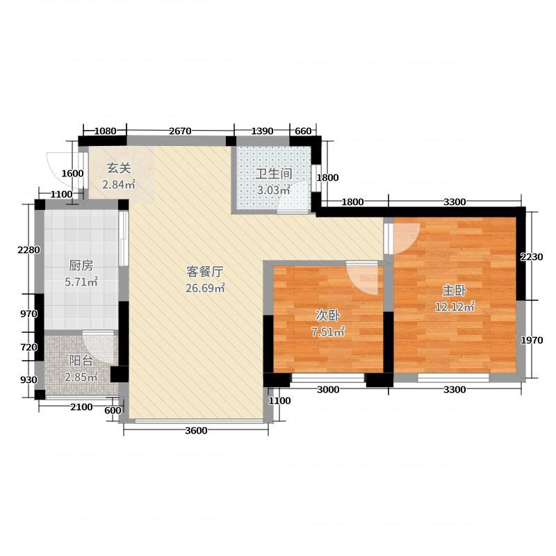 华泰・梧桐公馆61.47㎡A户型2室2厅1卫1厨