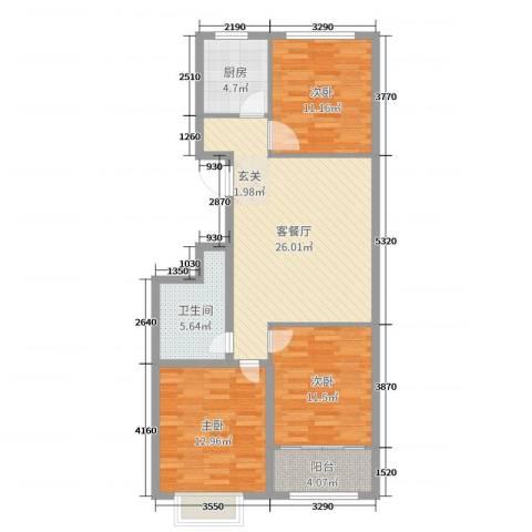 恒信玫瑰公馆3室2厅1卫1厨95.00㎡户型图